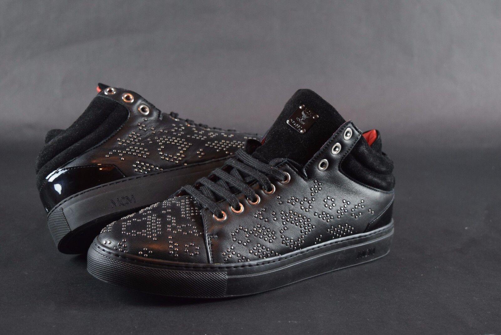 New damen MCM Studded Leather Turnschuhe sz 39 9 US schwarz schuhe retail  550 rot