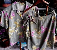 Tommy Bahama 2 Piece Floral Skirt Set Small Blouse Khaki Silk Shirt Top Women's