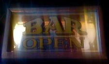 VINTAGE FRAMED MIRROR BAR OPEN SIGN WALL DECOR ARTMARK 1977