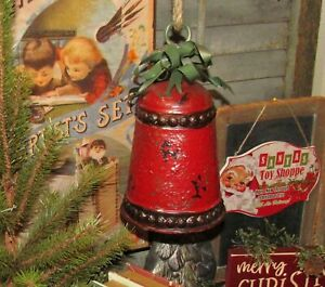 Primitive-Antique-Vtg-Style-Med-8-034-Red-Christmas-Bell-Hanging-Tin-Metal-Bow