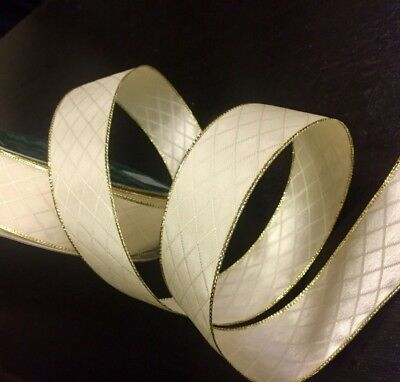 Vanilla and Gold Luxury Ribbon Wire-Edged Gift Wrap Wide 38mm Christmas