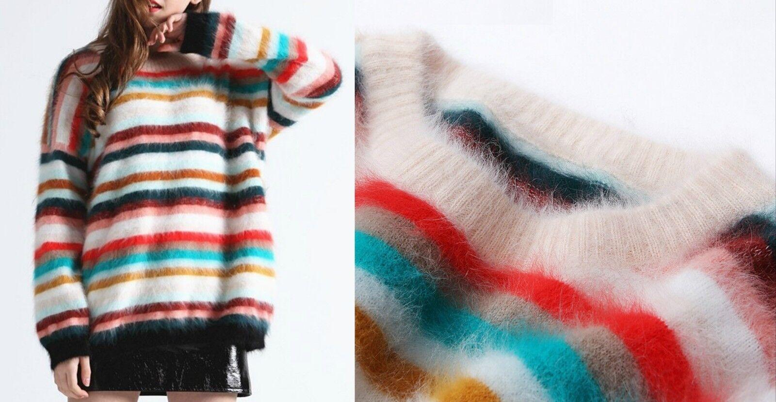 60 40 Angora Lana Maglione Strisce WOOL striped jumper sweater Mink Cashmere