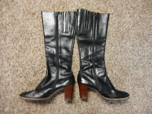 Details About Womens Sbicca Black Leather Boots With Wood Stacked Heel Sz 9m Cute