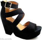 Block Heel Platform Split Wedge Shoes Peeptoe Strap Buckle Womens Boots Ladies
