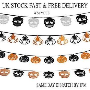 Halloween-Party-Glitter-Banner-Bunting-Decoration-Spooky-Pumpkin-Skull-Spider-UK