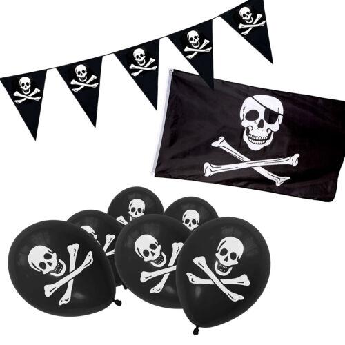 Pirate Jolly Roger Skull /& Crossbones Balloons Black Flag /& Bunting Party Set