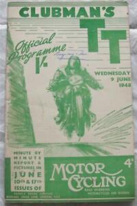 ISLE OF MAN TT 9 Jun 1948 Clubman's Official Programme