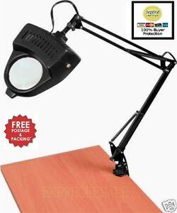 Clamp On Swing Arm Lighted Magnifying Lamp Hobby Work Desk