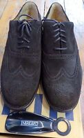 Land's End Mens Oxford Wingtip Suede Shoes Size 9.5ee Us Dark Brown W/box Unworn