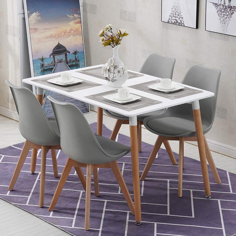 Essgruppe mit 4 Esszimmerstühle für Esszimmer Küche,Weiß Esstisch und Stühle 1