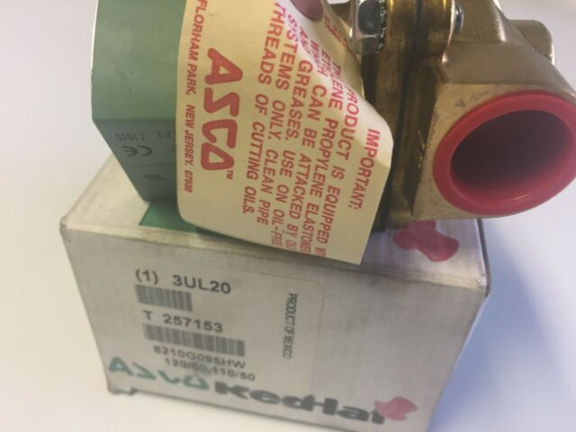 "ASCO 8210G095HW 3//4/"" NPT 2-Way Hot Water Solenoid Valve 120VAC 3//4/"" Orifice"