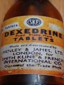 Vintage-Medicine-Hand-Crafted-Bottle-Dexedrine-Henry-amp-James-LTD-EMPTY
