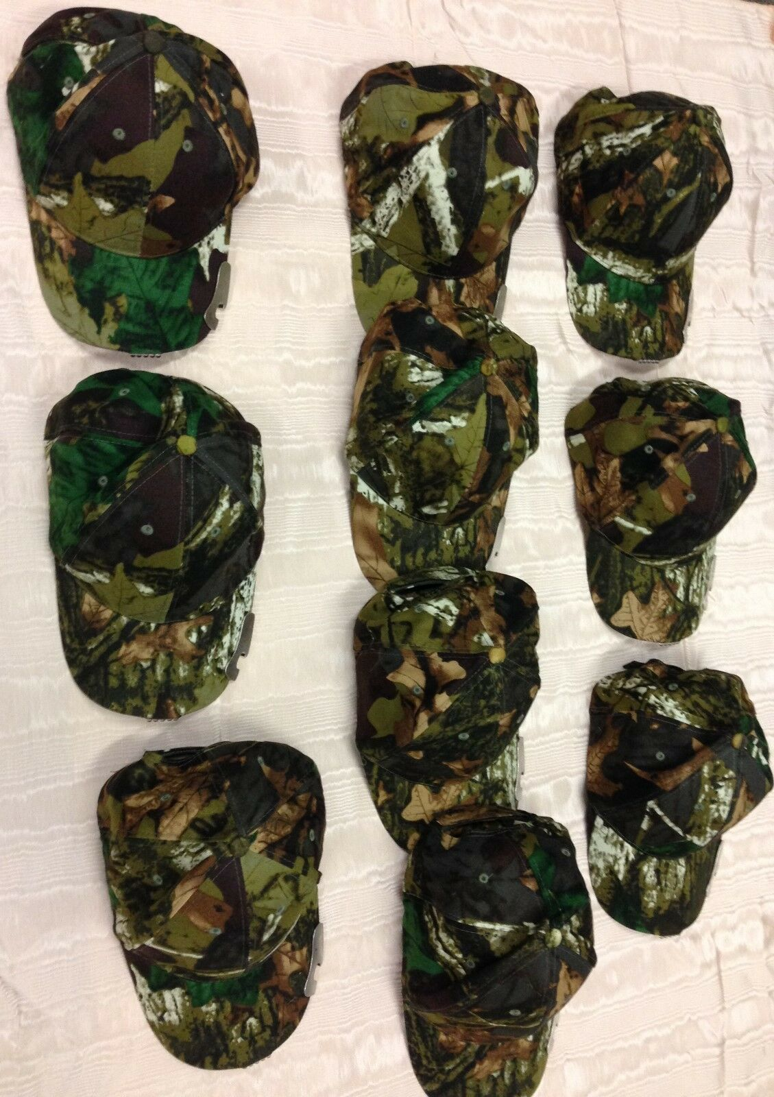 Lot of 10 Camouflage  Baseball  Cap with 5 LED Lights  and  Bottle Opener