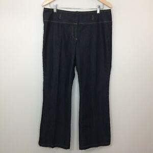 Bisou-Bisou-Michele-Bohbot-Womens-Jeans-Size-12-Dark-Wash-Flare-Stretch-Denim