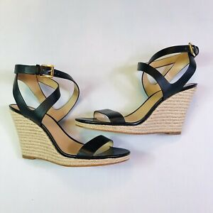 MICHAEL-KORS-Black-Leather-Wedge-Espadrilles-Sandals-Women-Size-9-5M