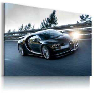 BUGATTI-CHIRON-BLACK-Sport-Car-Wall-Canvas-Picture-ART-AU569-UNFRAMED-ROLLED