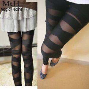 b91166146dce2f Sexy Women Girl Black Leggings Ripped Slashed Mesh Stretch Bandage ...