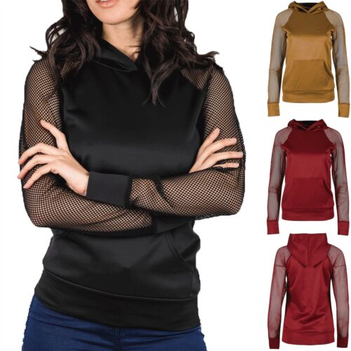 Ladies Full Scuba Fisher Net Sleeve Hoodies Womens Sweatshirt Draw Strings Hoody