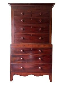 best service 28ea4 69df9 Details about Huge Antique Early Victorian Chest on Chest Tallboy Chest Of  Drawers Mahogany