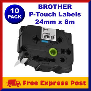 10x TZ-251 TZe-251 Compatible Brother Black on White Labels Tape Label 24mm x8m