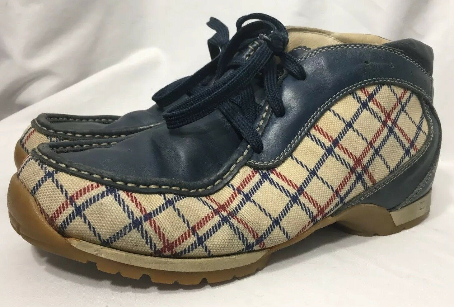 Dolomite bluee Plaid Ankle Boots Men's Size 10 Hiking Trail Fashion VTG