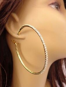 Image Is Loading Rhinestone Hoop Earrings Thin Gold Tone