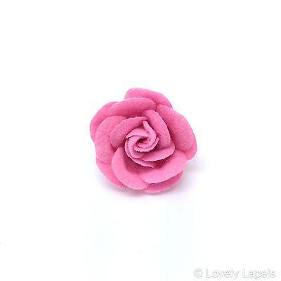 Men's Handmade Flower Lapel Pin, SMALL PINK ROSE Wool Blend Felt. Lovely Lapels