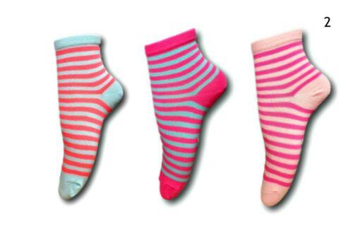 Children Girls Teens Women Ladies Neon Cotton Blend Bright Stripy Socks 3 pairs