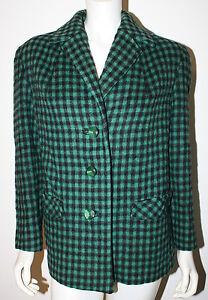 VINTAGE Green Black Plaid Wool LS Jacket Blazer M L England Scotland