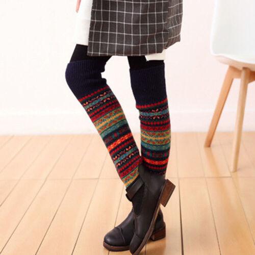 Chic Leg Warmers Crochet Leggings Winter Fair Isle Knee High Knit Warmer Socks