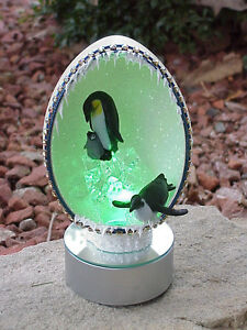 REAL-Decorated-Rhea-Egg-Lighted-Winter-Collectible-Gift-Arctic-Kingdom-Penguins