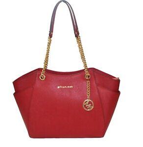 MICHAEL-KORS-Jet-Set-Travel-LG-Schoulder-Tote-Handtasche-Leder-scarlet-Shopper