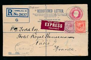 GB POST OFFICE EXPRESS DELIVERY 1930 REGISTERED STATIONERY to FRANCE