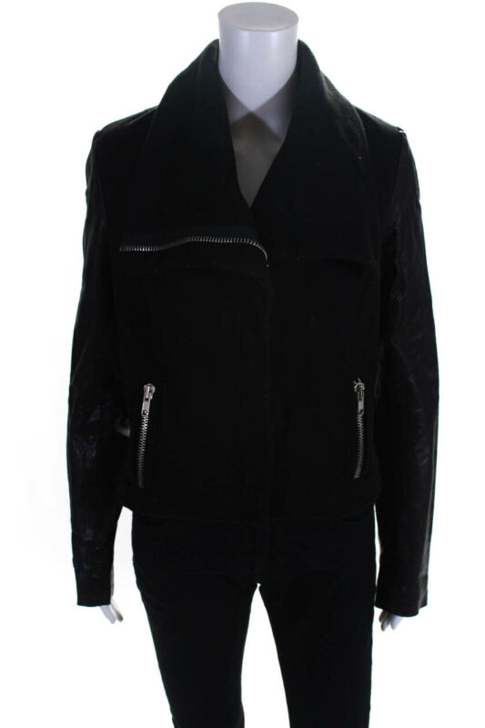 Imported From Abroad Grail Womens Wool Leather Zip Jacket Black Size Small Excellent (In) Quality
