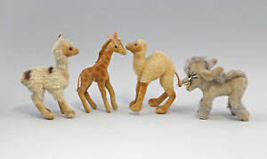 99810076-4-Plueschtiere-davon-3x-Steiff-Lama-Dromedar-Giraffe-Esel