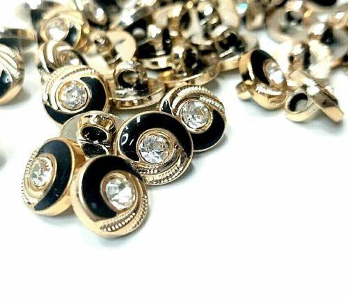 10MM redondo oro negro de piedras preciosas de cristal remolino atrás Volver Botones De Caña