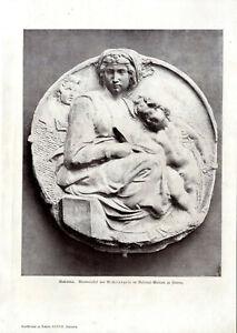 Purposeful Madonna Marmorrelief Von Michaelangelo S/w Kunst-druck Von 1901 Sale Price Art