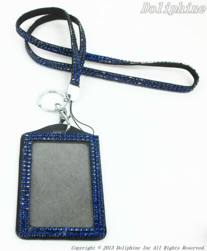 Multi-Color Rhinestone Crystal Bling Neck Lanyard with Vertical ID Badge Holder
