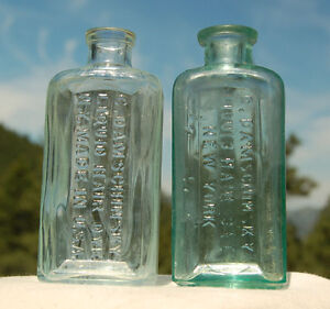 Lot of 2 two TURQUOISE AQUA antique HAIR DYE bottles a NICE SET