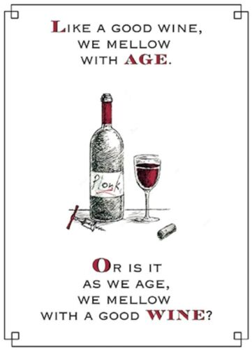 Mellow With Wine Funny Wine O/'clock Birthday Greeting Card Humour Cards