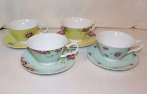 Aynsley-Archive-Rose-Teacups-and-Saucers-Set-of-4
