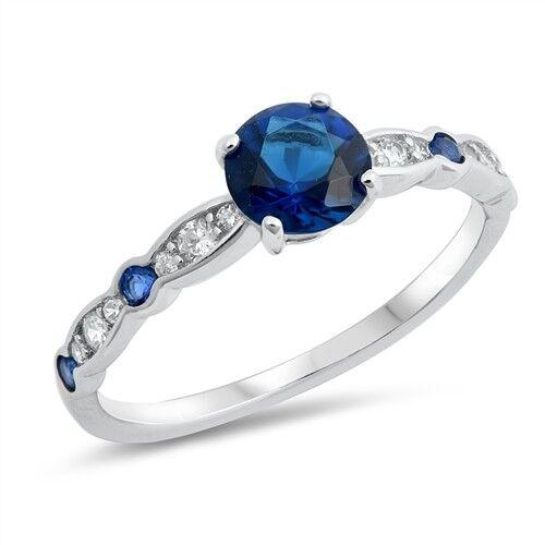 USA vendeur Anneau Argent Sterling 925 Best Bijoux Saphir Bleu Zircone cubique /& Clair Zircone Cubique