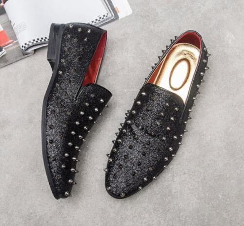 Men loafers rivet New spike studs slip On Dress Formal Punk Clubwear Chic Shoes