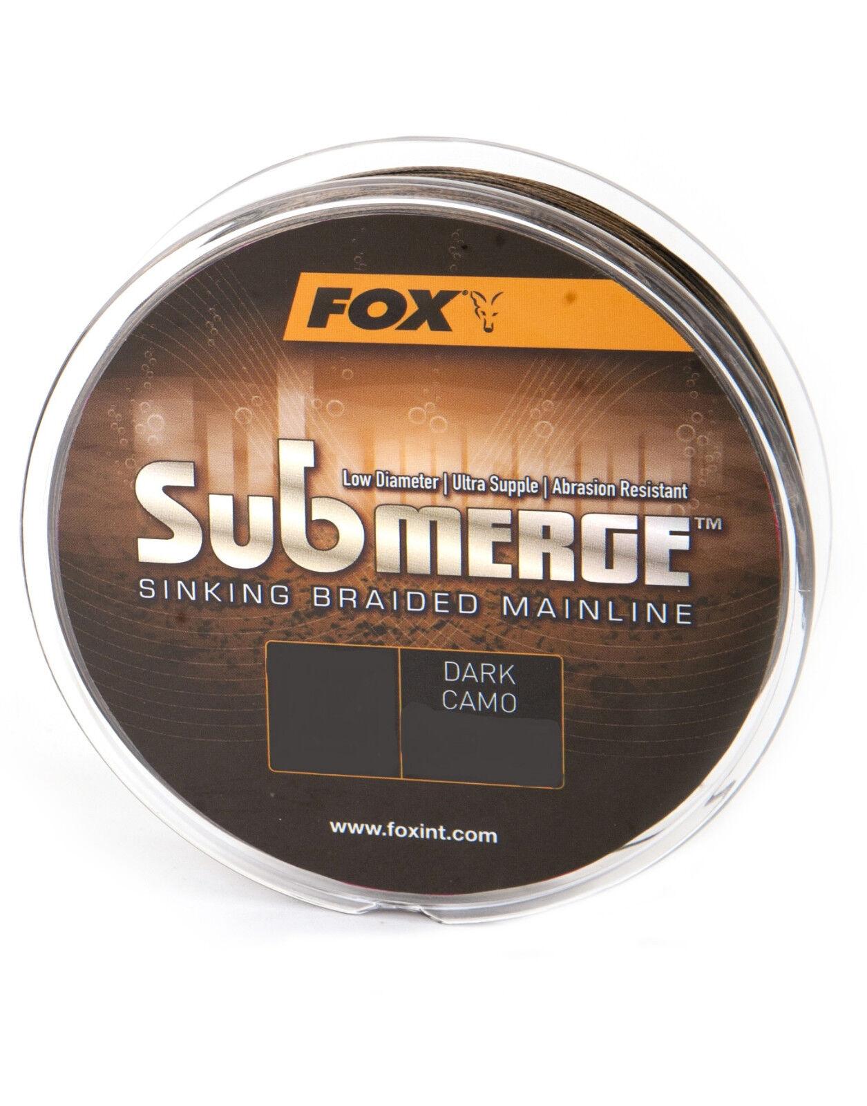 Fox Submerge Sinking Braided Mainline 600m Dark Camo Karpfenschnur Braided Line