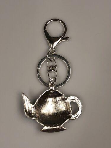 Details about  /Rhinestone Teapot w//Enamel Flowers  Key Ring Purse Charm// Key Chain// Zipper Pull