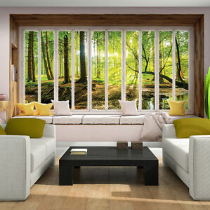poster tapeten fototapete wandbild ausblick fenster wald. Black Bedroom Furniture Sets. Home Design Ideas