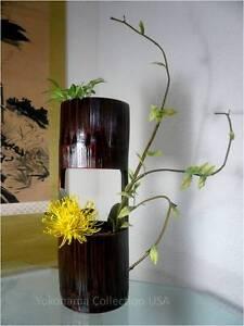 "Japanese 15.5"" H Natural Bamboo Flower Vase Cylinder Shape Ikebana/Made Japan"