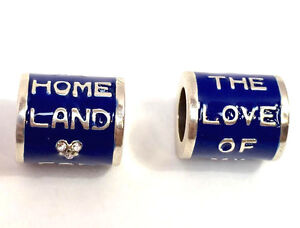 Brighton-Love-of-My-Homeland-Bead-JC1435-Silver-Finish-with-Blue-Enamel-New