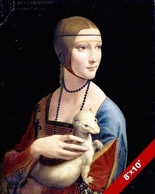 YOUNG BEAUTIFUL WOMAN & ERMINE PAINTING LEONARDO DA VINCI ART REAL CANVAS PRINT
