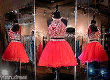 Short Two Piece Tulle Prom Dresses Cocktail Ball Evening Party Homecoming Hot